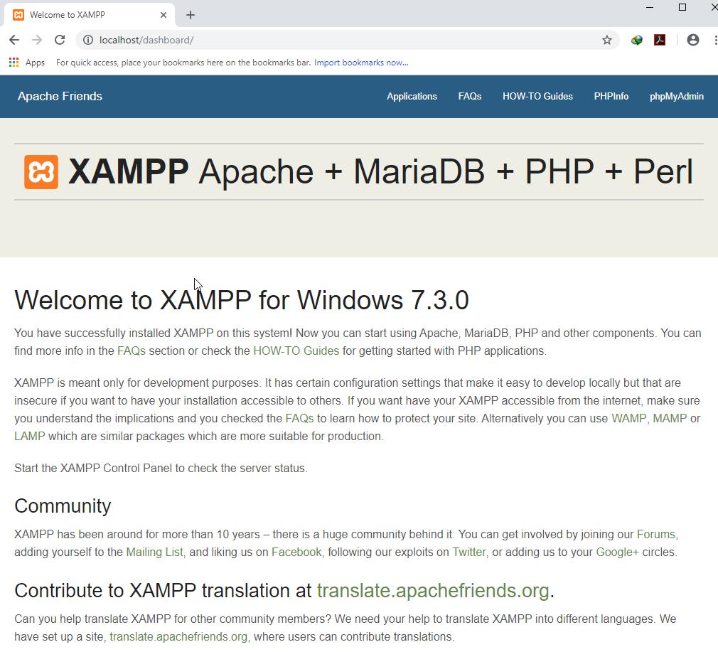 หน้า Dashboard ของ XAMPP