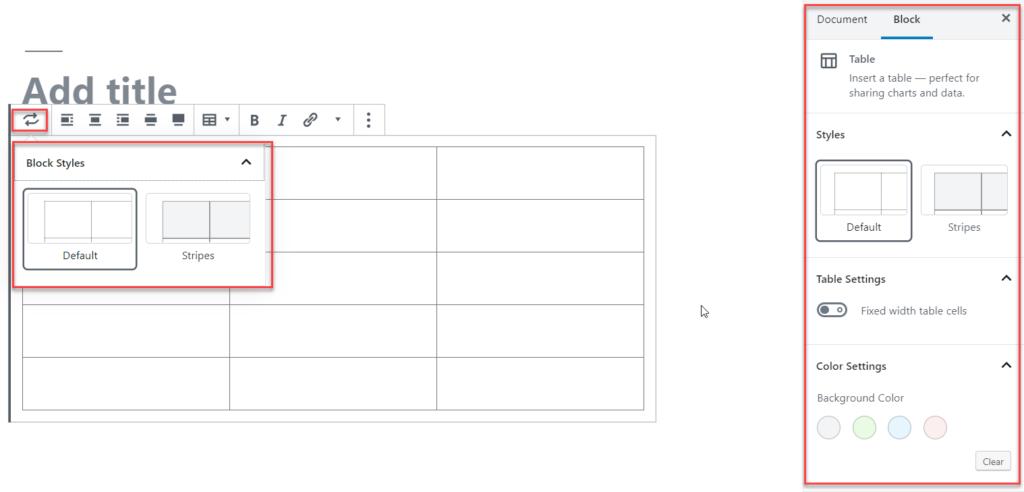 การจัดรูปแบบตารางใน WordPress