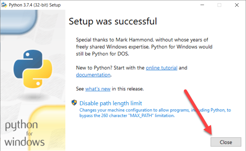 ติดตั้ง Python เสร็จเรียบร้อย