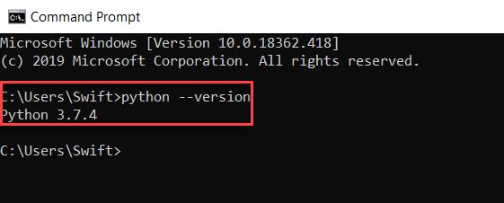 ตรวจสอบเวอร์ชันของ Python
