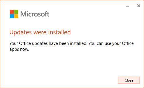 อัพเดท Microsoft Office เสร็จเรียบร้อย